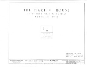 Blueprint cover page by the American Building Survey describing the Martin House erection date, address, and architect information.
