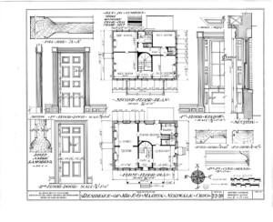 Martin House first floor plan, second floor plan, first floor door, and second floor with door casings, panel molds, and door column details.
