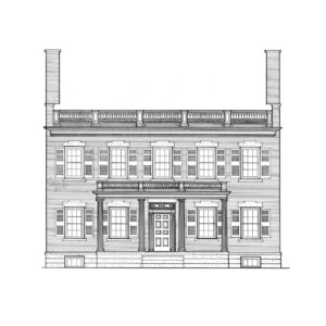 Line art of Martin House featuring windows with shutters, door casing with column detail, covered porch with columns, and balustrades on roof.