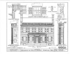 Blueprint of Martin House south elevation with cornice mouldings, typical windows with window casing shutters, and entrance door column details.
