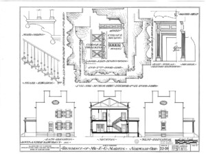 Blueprint of Martin House east elevation, west elevation, featuring staircase with newel post, stair treads, and stair balusters.