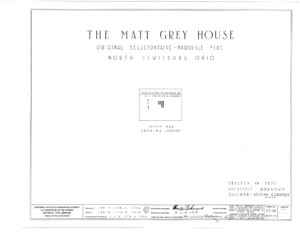 Blueprint cover page by the American Building Survey describing the Matt Gray House erection date, address, and architect information.