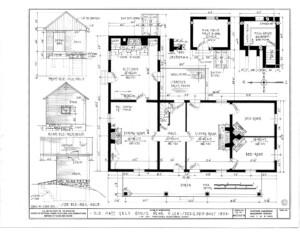 Blueprint of Matt Gray House first floor plan.