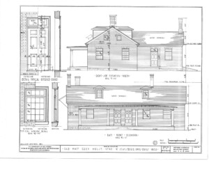 Blueprint of Matt Gray House north right side elevation.