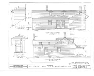Blueprint of Matt Gray House east front elevation.