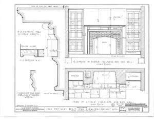 Blueprint of Matt Gray House west rear elevation, and south side elevation.