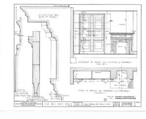 Blueprint of Matt Gray House elevation of kitchen fireplace featuring cornice mouldings.
