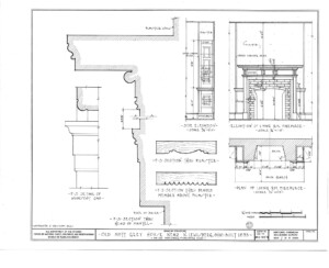Blueprint of Matt Gray House elevation of dining room fireplace featuring cornice mouldings.