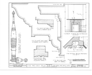 Blueprint of Matt Gray House elevation of bedroom fireplace featuring cornice mouldings.