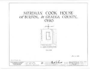 Blueprint cover page by the American Building Survey describing the Meriman Cook House erection date, address, and architect information.