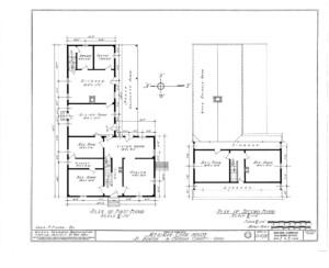 Blueprint of Meriman Cook House first floor plan, and second floor plan.
