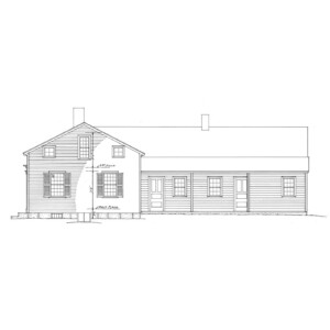 Line art of Meriman Cook House featuring shingle siding, windows with shutters, and door casing featuring panel molds.