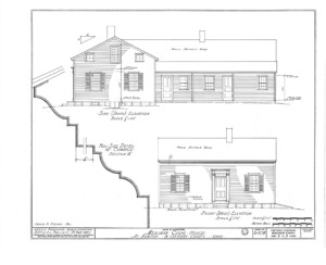 Blueprint of Meriman Cook House south side elevation, and west front elevation.