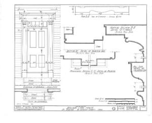 Blueprint of Meriman Cook House front door mouldings featuring column detail, and panel molds.