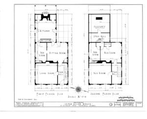 Blueprint of Peter Allen House first floor, and second floor.