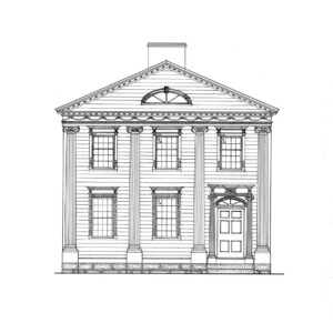Line art of Peter Allen House featuring four columns, covered front porch, front door with column detail, and panel molds.