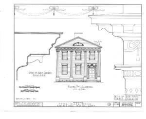 Blueprint of Peter Allen House front east elevation.