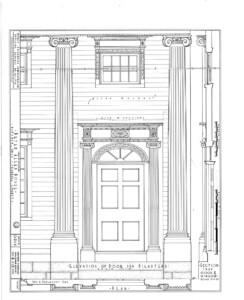 Line art of Peter Allen House front of building featuring pillars, and door with door casing with column detail, panel molds, and shingle siding.