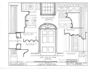 Line art of Peter Allen House main door entrance featuring door mouldings.