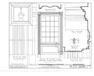 Line art of Peter Allen House second floor window featuring window casing.