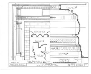 Line art of Peter Allen House fireplace mantel moulding featuring column detail.
