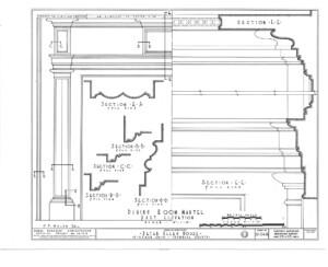 Line art of Peter Allen House mantel moulding featuring column detail.