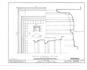 Line art of Peter Allen House first floor bedroom mantel moulding featuring column detail.