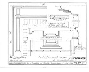 Line art of Peter Allen House elevation of pilaster plinth.