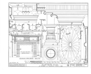 Line art of Peter Allen House fireplace mantel mouldings, and beautiful ornaments.