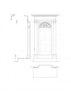 Line art of Baldwin house door featuring door mouldings, panel moulds, and cornice mouldings.