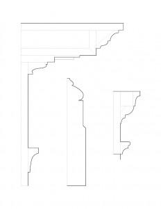 Line art of Baldwin house cornice mouldings.