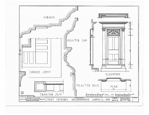 Baldwin house door elevation features a cornice, cornice soffit, pilaster cap, transom sash, pilaster base, along with other moulding profiles.