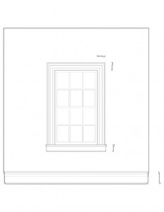 Line art of window casing along with trim in the birthplace of Thomas Edison house.