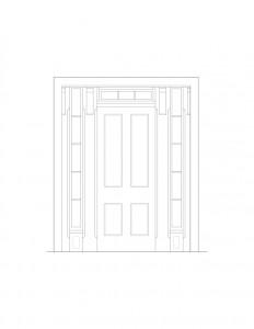 Line art of Blackman house door featuring door mouldings, window mouldings, and panel mouldings.