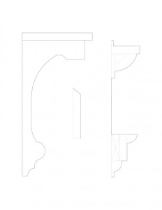 Line art of Blackman house moulding profiles.