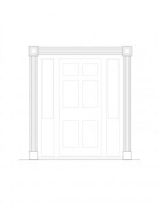 Line art of Brecksville Inne house door featuring window casing on side of door and panel molds.