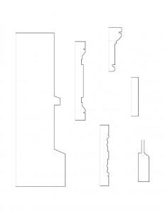 Line art of Brecksville Inne house moulding profiles.