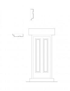 Line art of Bronson house door with panel molds, and door mouldings.