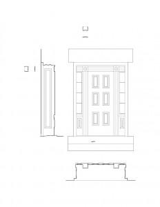 Line art of Bronson house door featuring door casing, panel molds, and window casing.