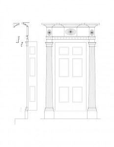 Line art of Chester Moffett House door featuring columns, panel molds, beautiful designs on top of door, and cornice mouldings.