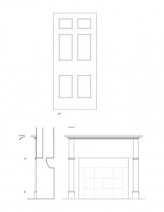 Line art of Chester Moffett House door featuring panel molds, and fireplace mantel featuring mantel mouldings.
