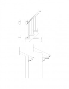 Line art of Chester Moffett House staircase featuring newel post, balusters, railing, and separate cornice mouldings.
