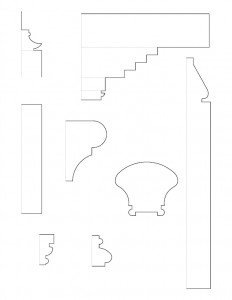 Mix of door lineart, fireplace mantel line art, and staircase moulding profiles line art regarding the Chester Moffett House.