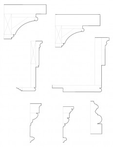Mix of door line art, mantel line art, and staircase moulding profiles regarding the Chester Moffett House.