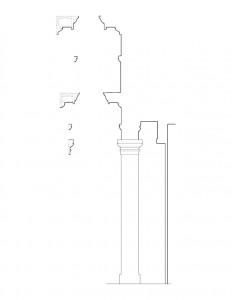 Line art of Clark Pratt Kernery house column featuring cornice mouldings.
