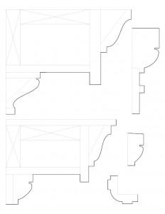 Line art of Clark Pratt Kernery house mix of mouldings.