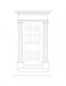 Line art of Columbian House doorway featuring steps to entrance, panel molds on door, columns on both sides of door, and cornice mouldings.