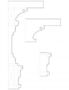 Line art of Columbian House mixture of mantel moulding profiles.