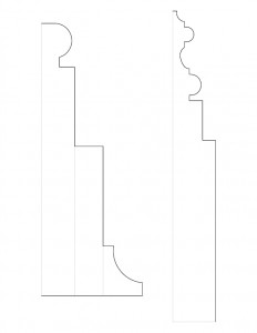 Line art of Columbian House mixture of fireplace mantel moulding profiles and window moulding profiles.