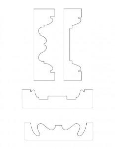 Line art of Columbian House mixture of door moulding profiles and window moulding profiles.